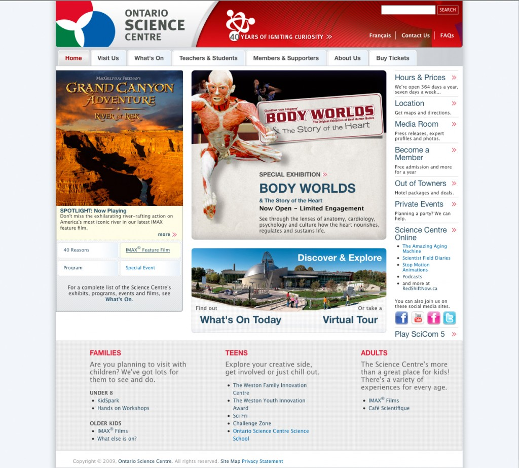 Sample of the redesigned OntarioScienceCentre.ca homepage.