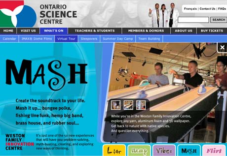 Main screen for the Weston Family Innovation Centre Flash Mini Site