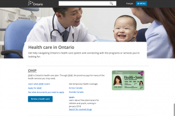 Screen shot of ontario.ca/health landing page
